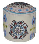 Home Decorative Suzani Embroidery Design Foot Rest Round Ottoman Cover 18 X 46cm X 36cm