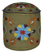 Indian Heavy Embroidery Decorative Ottoman Cover 18 X 46cm X 36cm