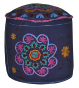 Jaipuri Handmade Patchwork Embroidered Design Round Ottoman Cover 18 X 46cm X 36cm