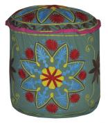 Room Decorative Handmade Suzani Embroidery Cotton Round Ottoman Cover 18 X 46cm X 36cm