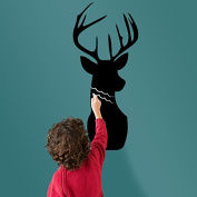 Deer Head Black Writing Board Blackboard Wall Decal Home Sticker PVC Murals Vinyl Paper House Decoration WallPaper Living Room Bedroom Kitchen Art Picture DIY for Children Teen Nursery Baby