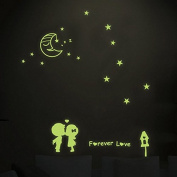 Moon Stars Lovers Night Lighting Wall Decal Home Sticker PVC Murals Vinyl Paper House Decoration WallPaper Living Room Bedroom Kitchen Art Picture DIY for Children Teen Senior Adult Nursery Baby