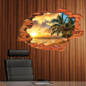 Palm Beach 3D Fake Window Wall Decal Home Sticker PVC Murals Vinyl Paper House Decoration WallPaper Living Room Bedroom Kitchen Art Picture DIY for Children Teen Senior Adult Nursery Baby