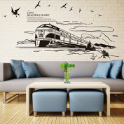 Train Birds Wall Decal Home Sticker PVC Murals Vinyl Paper House Decoration WallPaper Living Room Bedroom Kitchen Art Picture DIY for Children Teen Senior Adult Nursery Baby