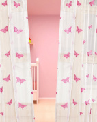 BU Pink Butterfly embroidered faux silk sheer baby room/Nursery sheer curtain panel 130cm W X 160cm Length
