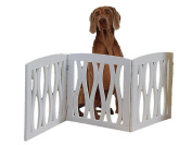 Folding Wood Pet Gate With Wavy Design White