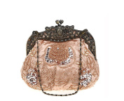 Women's Vintage Beaded Floral Satin Handbag Evening Purse Wedding Handbag for Party