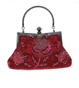 Bopstyle Women's Sequin Beaded Party Clutch Vintage Rose Purse Evening Handbag