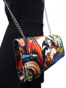 """US HANDMADE FASHION EVENING BAG WITH CHAIN-STRAP WITH """"DRACULA """" MONSTERS PATTERN SHOULDER BAG, COTTON, EVCL 1308-2"""
