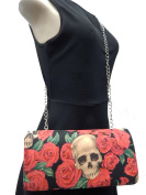 "US HANDMADE FASHION EVENING BAG WITH CHAIN-STRAP WITH ""RESTING IN RED ROSES"" PATTERN SHOULDER BAG, COTTON, EVCL 1042-5"