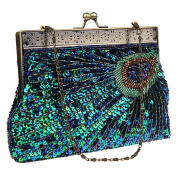 Bywen Womens Sequined Peacock Pattern Purse Party Clutch Shoulder Bags