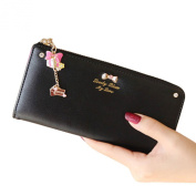 JOX JOZ Elegant Lady Women Clutch Set Auger Bowknot Long Purse Leather Wallet