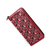 DGY Stylish Skull Synthetic Leather Wallet Clutch Long Purse Leather Wallet for Ladies QB006
