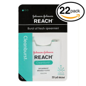 (PACK OF 22) Johnson & Johnson REACH Waxed Floss. BURST OF FRESH SPEARAMINT! Removes Up to 2x More Plaque than Glide Floss!