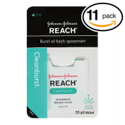 (PACK OF 11) Johnson & Johnson REACH Waxed Floss. BURST OF FRESH SPEARAMINT! Removes Up to 2x More Plaque than Glide Floss!