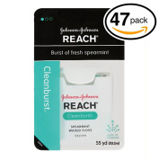 (PACK OF 47) Johnson & Johnson REACH Waxed Floss. BURST OF FRESH SPEARAMINT! Removes Up to 2x More Plaque than Glide Floss!