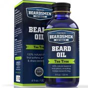 Beard Oil - Tea Tree Scent - Huge Man-Sized 120ml Bottle - 100% Natural - Softens Your Beard and Stops Itching - Scent Women Love - Best Beard Oil And Conditioner For Men