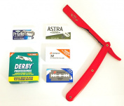 BARBER RAZOR CUT THROAT SHAVETTE STRAIGHT RASOIR RAPADA, DERBY ASTRA DORCO PRIME BLADES FULL RED