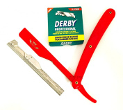 BARBER RAZOR CUT THROAT SHAVETTE STRAIGHT RASOIR, 100 Derby BLADES FULL RED