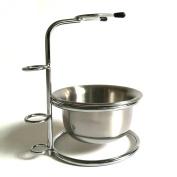 Stainless Steel Shaving Brush Stand Holder for Safety Razor Brush With Stainless Steel Bowl/mug Set