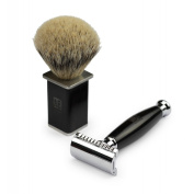 A.P. Donovan - Luxury double safety razor black sandalwood - badger shaving brush - travel case