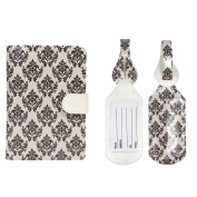 JAVOedge Brown Baroque Pattern RFID Blocking Passport Case with Pen Holder and 2 Matching Luggage Tags