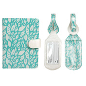 JAVOedge Turquoise Leaf Stencils RFID Blocking Passport Case with Pen Holder and 2 Matching Luggage Tags