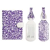 JAVOedge Purple Stars RFID Blocking Passport Case with Snap Closure, Pen Holder and 2 Matching Luggage Tags