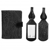 JAVOedge Weaving Pattern RFID Blocking Passport Case with Snap Closure, Pen Holder and 2 Matching Luggage Tags