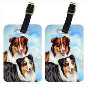 Pair of 2 Australian Shepherd Double Trouble Luggage Tags