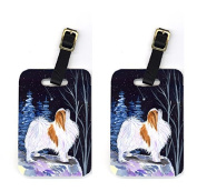 Starry Night Japanese Chin Luggage Tags Pair of 2