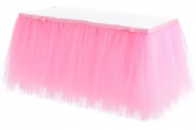 HBB Kids Handmade Tutu Tulle Table Skirt for Parties & Home Decoration, 3 yd (2.7m), Pink