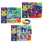 Melissa & Doug Easy-to-See 3-D Fashions, Adventure and Habitats Stickers With Dimple Bracelet