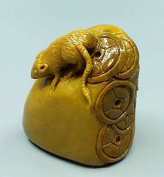 Easyou Custom Seals for Calligraphy Painting Handmade of Yellow Stone Customised Stamp with Rat Sculpture