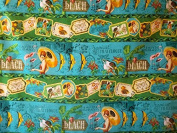 1 Yard Tropical Travelogue from Wilmington Prints Cotton Quilt Fabric 85536 742 Blue Large Stripe