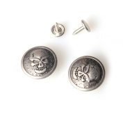 10 Sets DIY No Sew Metal Jean Tack Buttons 22mm with Photo Manual / Antique Silver As Skull _22mm