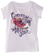 Converse Girl's All Star 1908 Chuck Taylor White Short Sleeve T-Shirt Sz. 6