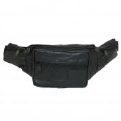 CTM® Unisex Genuine Leather 6 Zipper Pocket Fanny Waist Pack, Black