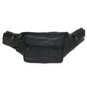 CTM® Unisex Genuine Leather 6 Zipper Pocket Fanny Waist Pack, Black