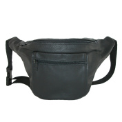 CTM® Unisex Leather Large American Made Premium Fanny Waist Pack, Black