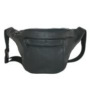 CTM® Unisex Leather Large American Made Premium Fanny Waist Pack, Black