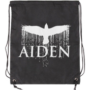 Aiden Bird Drawstring Backpack Black