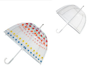 Totes Unisex Classic Clear Dome Bubble Umbrella (Pack of 2), Clear and Dots