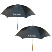 ShedRain Mens Couple Groom Wedding Stick Umbrellas with Hook Handle (2 Pack), Groom and Groom