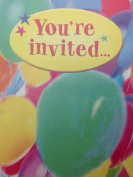 "(16) Kids ""You're Invited"" Colourful Balloons Birthday Party Fill-in Invitations Cards"