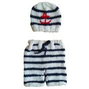Jastore® Photography Prop Baby Crochet Navy Stripe Costume Hat Pants