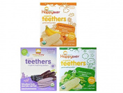 Happy Baby Organic Teethers Gentle Teething Wafers 3 Flavour Sampler Bundle