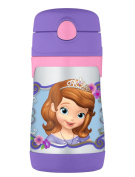 THERMOS Vacuum Insulated Stainless Steel 300ml Straw Bottle, Sofia the First
