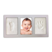 Decor Hut Baby keepsakes photo frame with 2 packs of clay to imprint hand and foot, White 3.5 by 5 photo frame