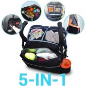 Deli 5-in-1 Multifunctional Waterproof Baby Stroller Storage Hanging Bag Organiser - Car Seat Back Hanging Basket Storage Bag - Hanging Multi-pockets Bag / Umbrella Car Cart Bag / Mummy Bag Black